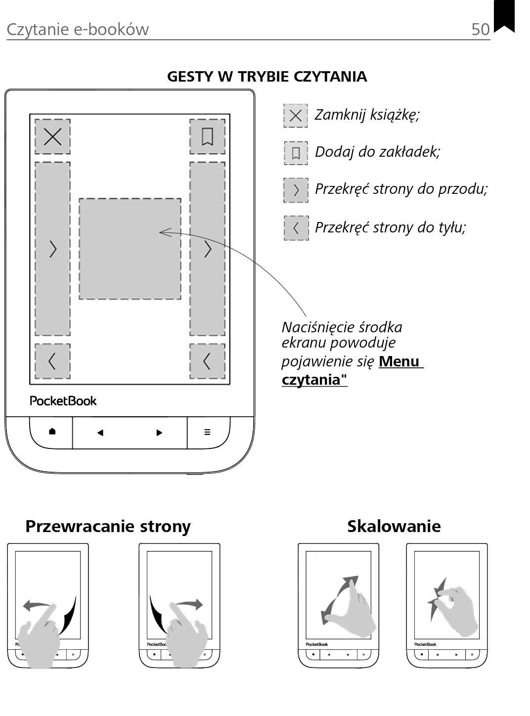 układ stref dotyku w ekranie czytnika PocketBook TouchHD2