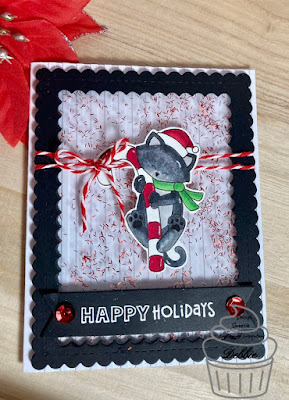 Happy Holidays by Debbie features Newton's Candy Cane by Newton's Nook Designs; #newtonsnook, #cupcakeinspirations, #cardmaking