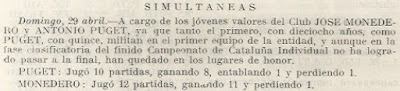 Sesión de simultáneas de Antoni Puget y Josep Monedero en 1956