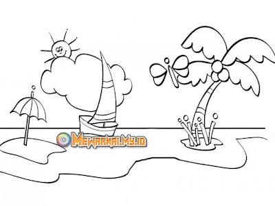 cara menggambar dan mewarnai pemandangan pantai