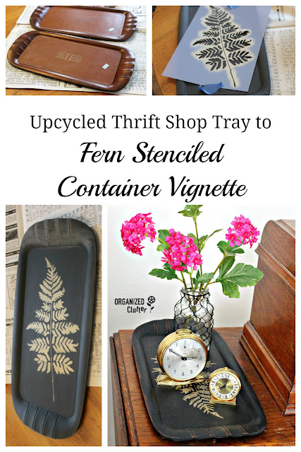 Container Vignette With Up-cycled Vintage Toastmaster Lap Tray #dixiebellepaint #caviar #fernstencil #metallicgold #upcycle #thriftshopfind #containervignette