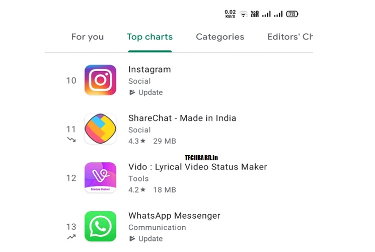 Google Play Store now starts showing which apps are trending higher and lower