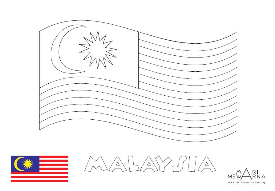 Lukisan Gambar Bendera Malaysia Berkibar Cikimm Com