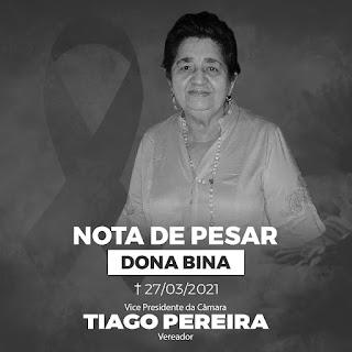 Em nota o  vereador cacimbense Tiago Pereira lamenta morte de dona Bina