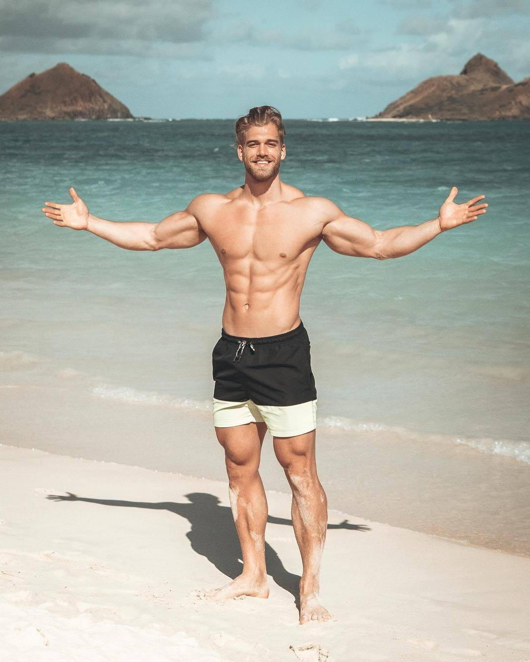 sexy-blond-fit-shirtless-bearded-muscle-hunk-beach-bro-abs-smiling-big-biceps