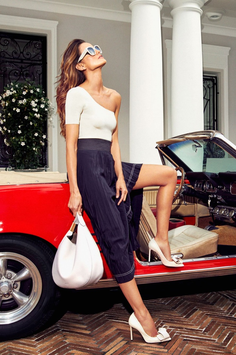 Model Izabel Goulart poses in Jimmy Choo 'Tegan 100' Pumps