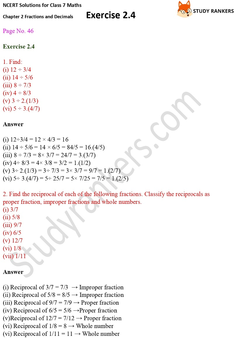 NCERT Solutions for Class 7 Maths Ch 2 Fractions and Decimals Exercise 2.4 1