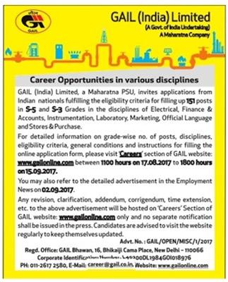 (GAIL) Recruitment 2017