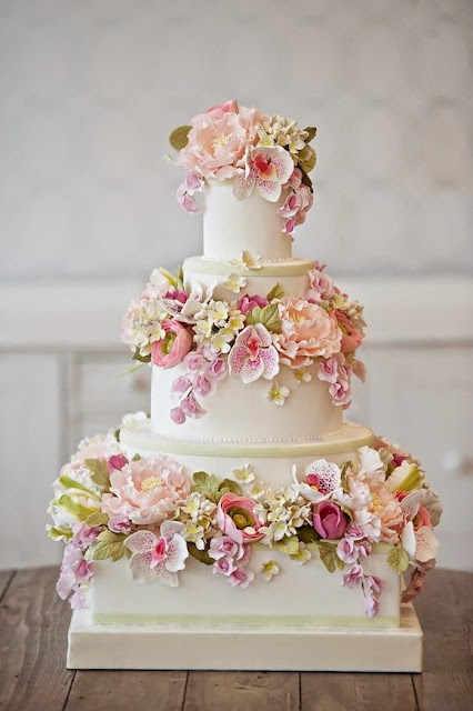 wedding cake with gum paste flowers