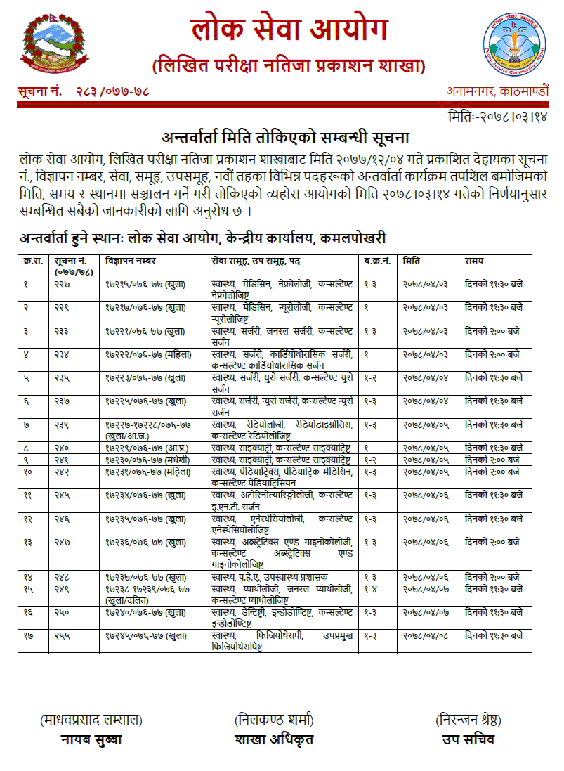 Lok-Sewa-Aayog-Published-Interview-Schedule-of-9th-Level-Health-Services