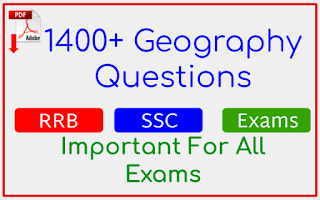 1400+ Geography Questions In English For All Exams