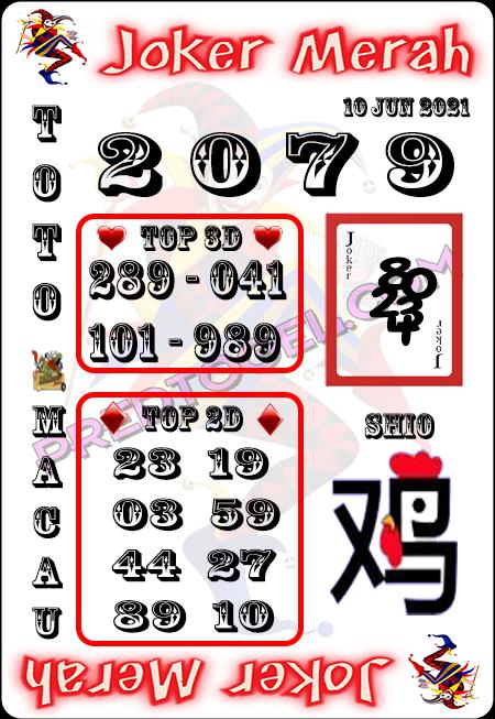 Prediksi Joker Merah Macau kamis 10 juni 2021