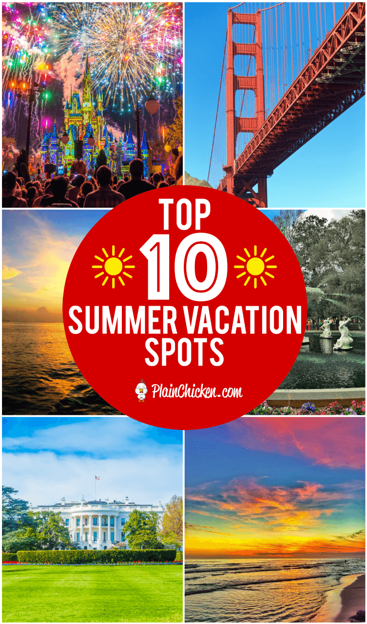 Top 10 Summer Vacation Spots - ten of the best places in the USA for summer vacation. What to do and where to eat! TONS of great tips! Disney World, San Francisco, NYC, Key West, Disneyland, Washington DC, Savannah, St Augustine and Las Vegas #nyc #travel #vacation #vegas #summer