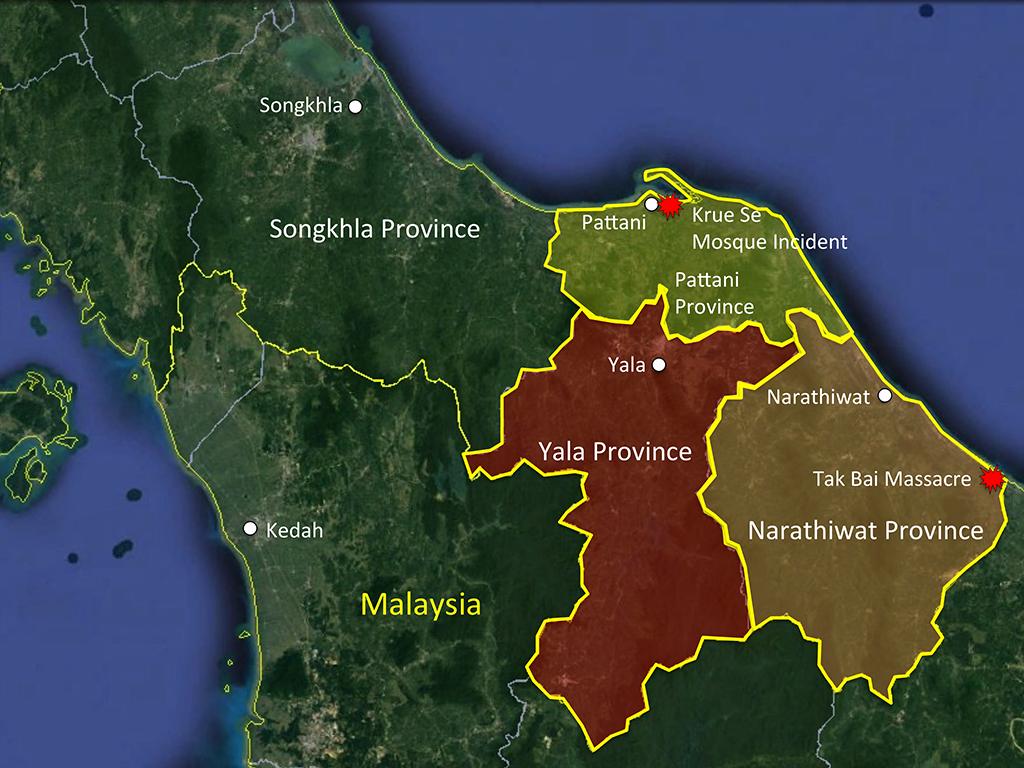 Vị trí địa lý vùng Phía Nam Thái Lan