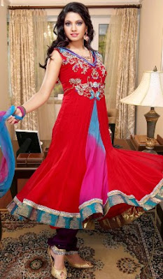 gorgeous new designer red anarkali churidar suit