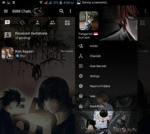 BBM Mod Transparant Tema Anime Dead Note v3.3.0.16 Tanpa Iklan for Android