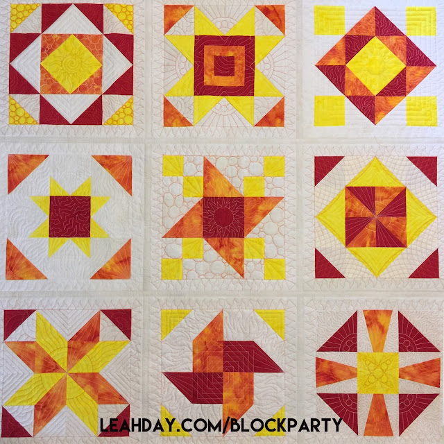 Beautiful Sunshine Surprise Sampler Quilt where you learn how to piece and quilt the blocks step by step.