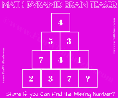 It is Tricky Math Puzzle Brain Teaser for Adults in which one has to find the missing number in Pyramid