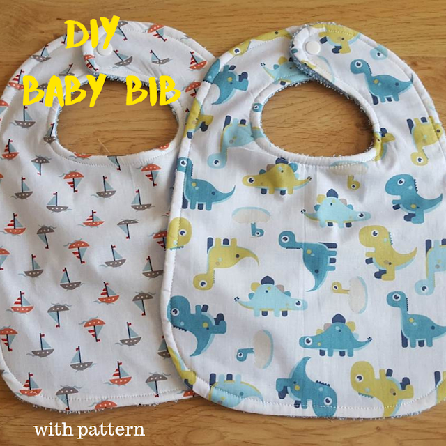 DIY large towel backed baby bib - with pattern