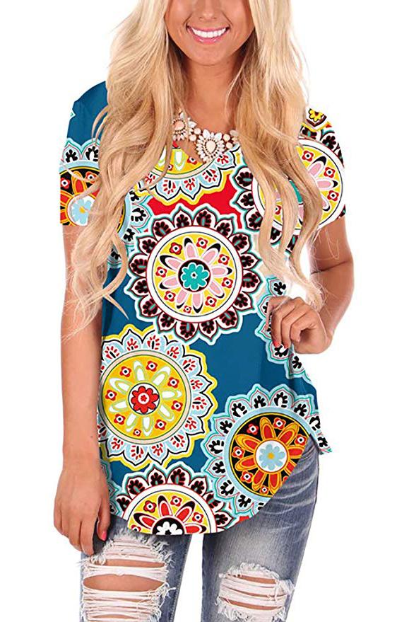 Womens Casual Curved Hem Long Sleeve T Shirt V Neck Side Slit Blouse - floral Boho