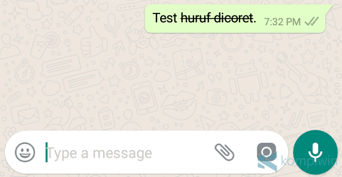 membuat huruf jadi tercoret di whatsapp