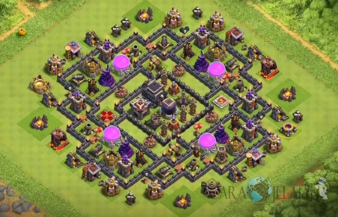 Base Farming TH 9 COC Update Bomb Tower Terbaru 2017 Tipe 8