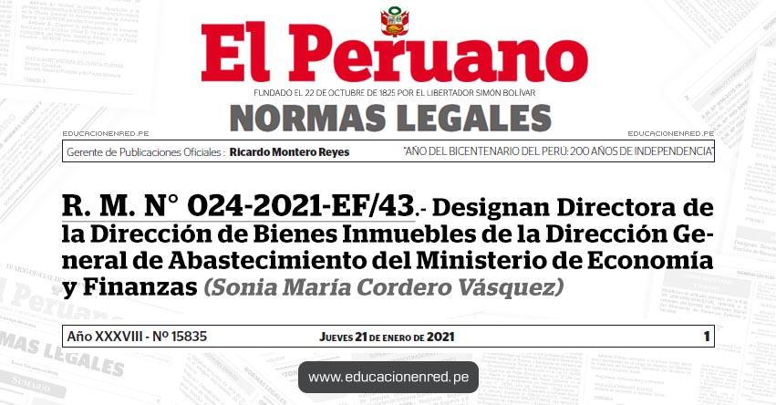 R. M. N° 024-2021-EF/43.- Designan Directora de la Dirección de Bienes Inmuebles de la Dirección General de Abastecimiento del Ministerio de Economía y Finanzas (Sonia María Cordero Vásquez)