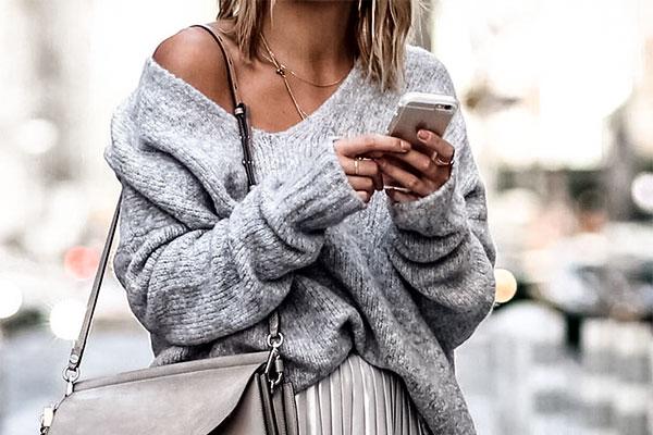 Мода, осень, стиль,серый