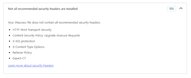 Memperbaiki peringatan isu Your .htaccess file does not contain all recommended security headers di wordpress