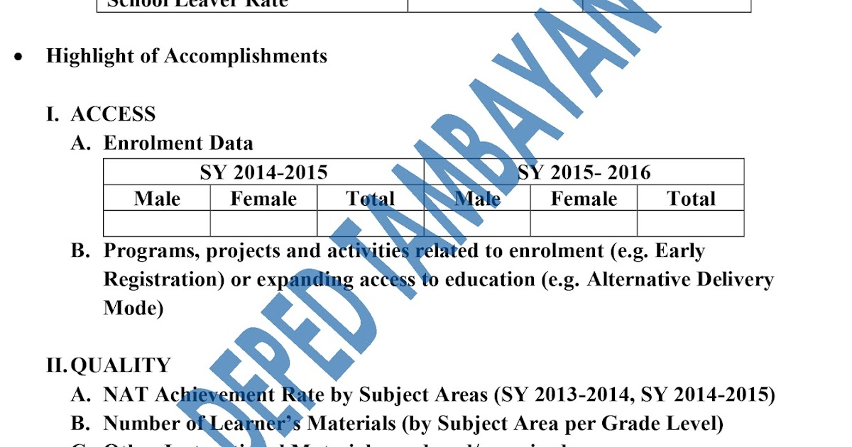 New Format of Accomplishment Report for CY 2015 DEPED TAMBAYAN PH - accomplishment report format