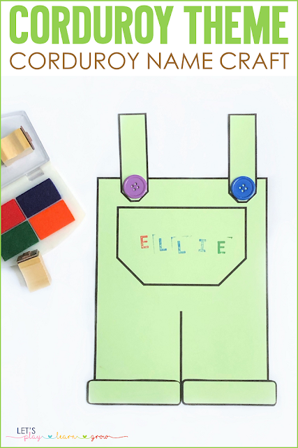 Corduroy Themed Name Craft for Preschoolers to practice spelling their name.