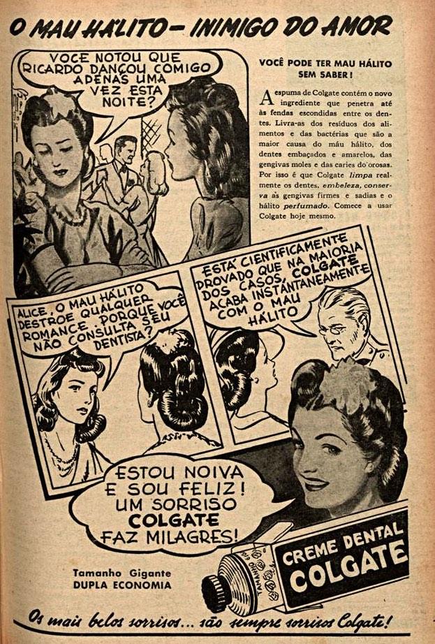 Propaganda antiga da Colgate promovendo seu creme dental para combater o mau hálito