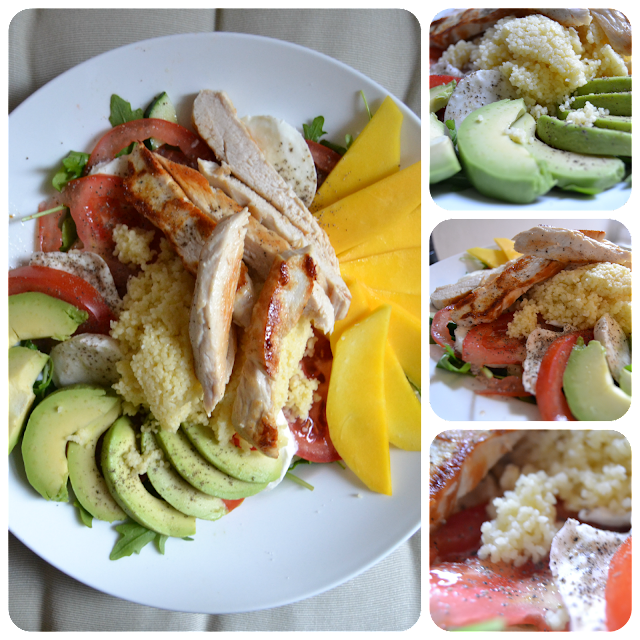 Salat, Avocado, Tomate, Büffelmozzarella, Couscous, Mango, Ei, Hähnchen