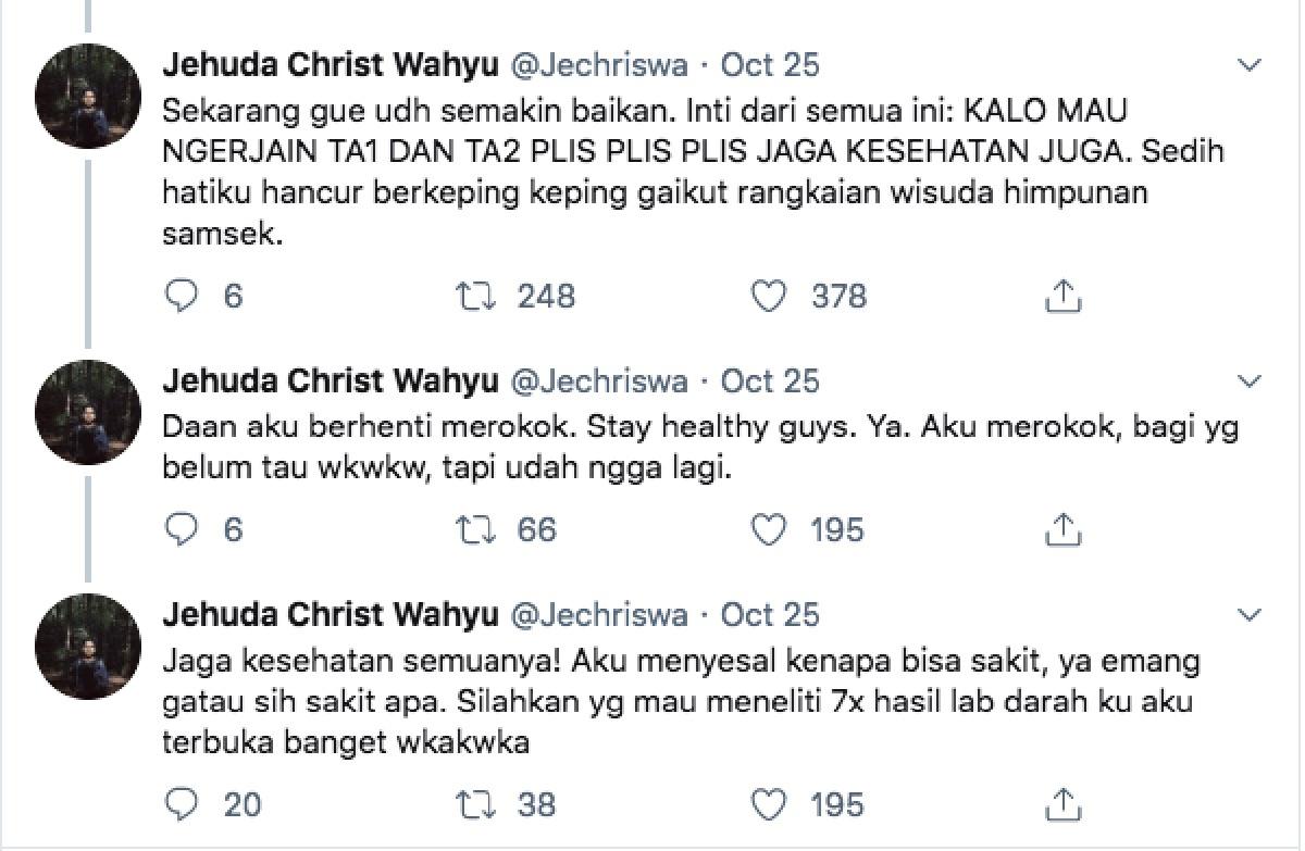 Tweet Mahasiswa Meninggal setelah Kerjakan Skripsi 7 hari tujuh malam