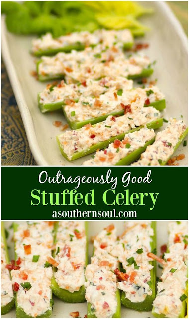 HEALTHY OUTRAGEOUSLY GOOD STUFFED CELERY FOR VEGETARIAN