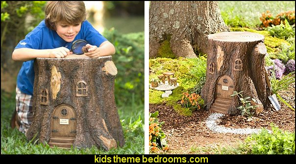 Whimsical Fairy Garden Tree Stump Stool