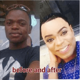 Bobrisky before and after picture