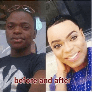 image result for Bobrisky before and after pictures