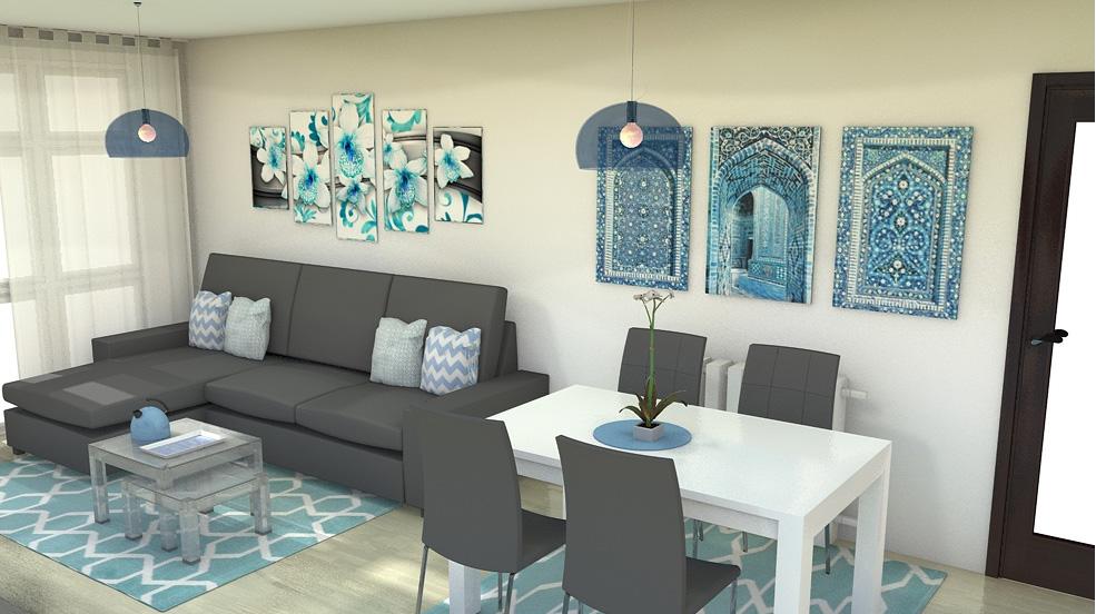 las sillas se escogen a juego con el sof aunque tienen un color oscuro la sala se ve clara y luminosa gracias en gran parte a la gran mesa en blanco - Decorar Salon Alargado