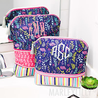 navy and floral design cosmetic bag