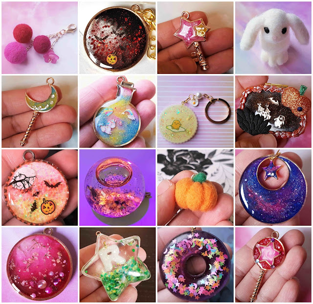 UK Etsy jewelry and accessory shop reopening, handmade resin and needle felted charms, resin floral bunny hair tie giveaway