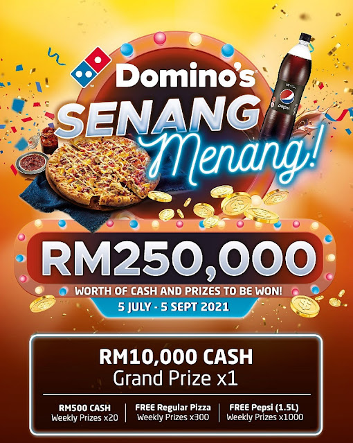 Eat Domino's Pizza & Join Senang Menang Contest To Stand A Chance To Win Their RM 250,000 Worth Of Cash & Prizes