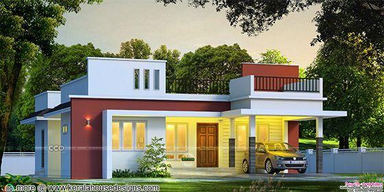 Flat roof single floor house front view rendering