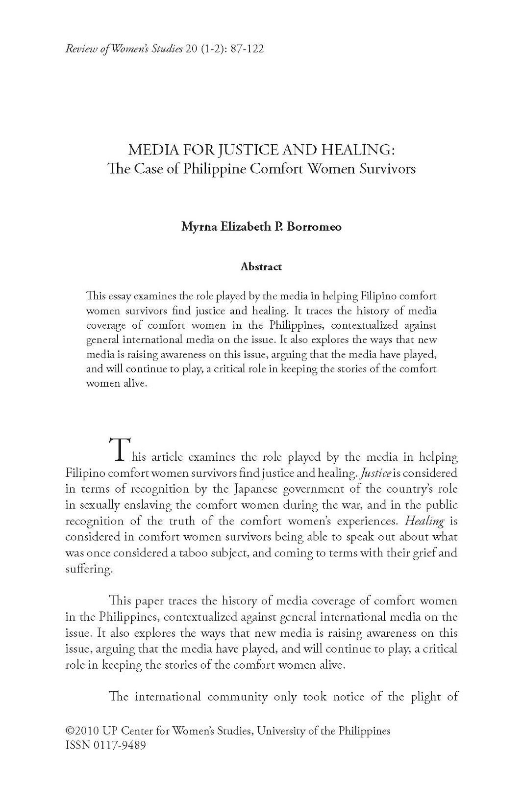 mochi thinking edia for justice and healing the case of during world war ii new york columbia university press 2000 yu jose lydia and palanca tan rosalina eds and directions and