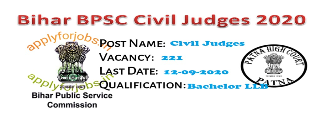 Bihar BPSC Civil Judges Recruitment 2020 Online Form, Apply For Jobs, applyforjobs.in