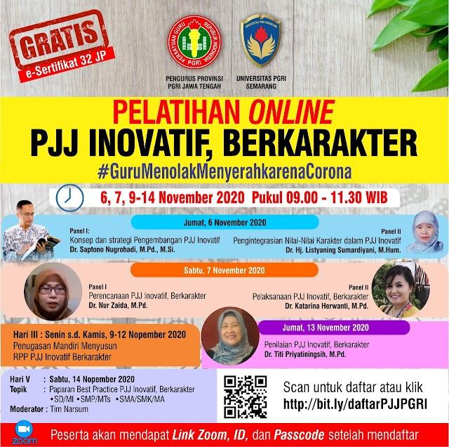 Pelatihan Online PJJ Inovatif, Berkarakter 6,7, 9-14 November 2020
