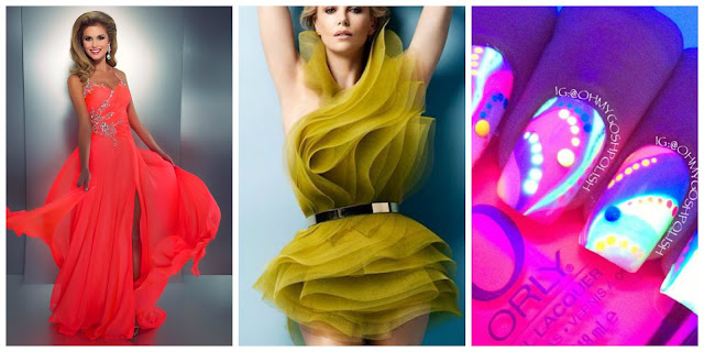 women outfit neon party dress nails