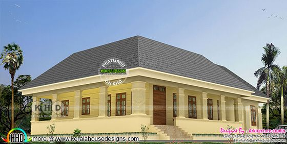 Slanting roof style Colonial home design