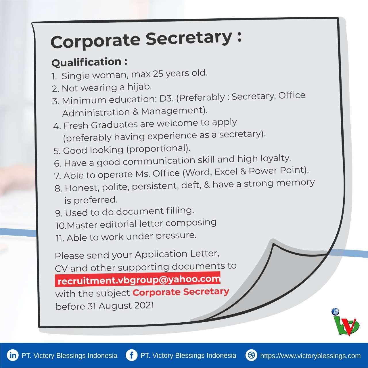Lowongan Corporate Secretary Cikarang Jababeka 2021