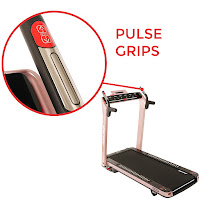 Contact pulse grip sensors in handlebars of Sunny Health & Fitness Asuna SpaceFlex 7750P & 7750 Electric Treadmills, image
